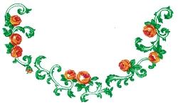 Rose Neckline embroidery design
