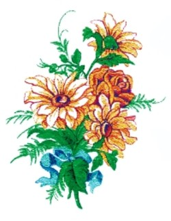 Roses and Daisies embroidery design