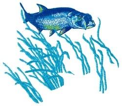 Swimming Tarpon embroidery design