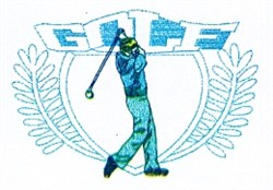 Golf Swing Crest embroidery design