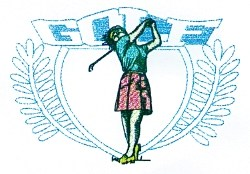 Lady Golf Crest embroidery design