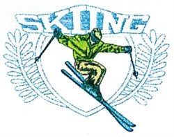 Skiing Jump Crest embroidery design