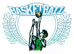 Womans Basketball Crest embroidery design