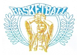 Basketball Shot Crest embroidery design