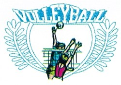Beach Volleyball Crest embroidery design