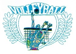 Mens Volleyball Crest embroidery design