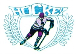 Hockey Player Crest embroidery design
