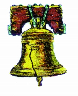 Liberty Bell embroidery design