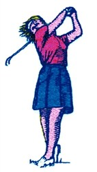 Lady Golfer Swing embroidery design