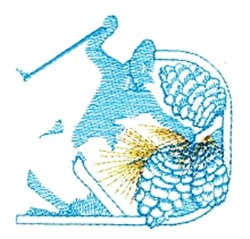Skier & Pinecones embroidery design