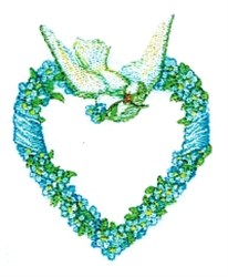Dove Floral Heart embroidery design