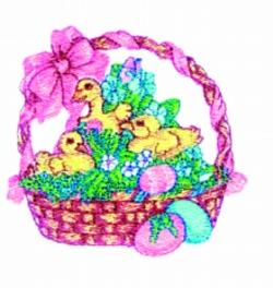 Basket of Chicks embroidery design