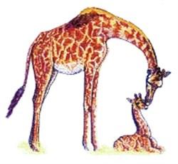 Giraffe & Baby embroidery design