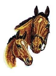 Horse & Foal Heads embroidery design