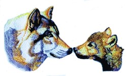 Wolf & Cub Heads embroidery design