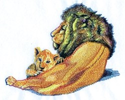 Laying Lion & Cub embroidery design