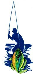 Fisherman Silhouette embroidery design