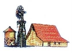 Barn Windmill embroidery design