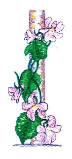 Floral Stake embroidery design