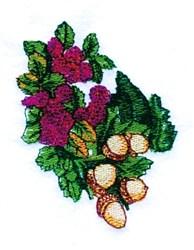 Raspberries & Acorns embroidery design