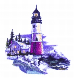 Winter Light House embroidery design