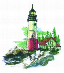 Summer Light House embroidery design