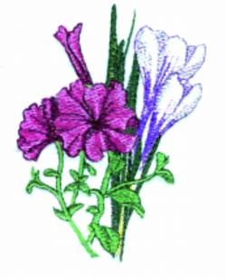 Crocus & Petunias embroidery design