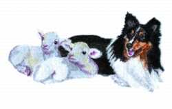 Sheltie & Lambs embroidery design