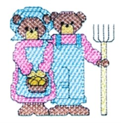American Gothic Bears embroidery design