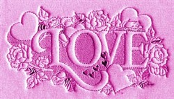 LOVE Hearts & Flowers embroidery design