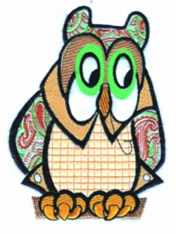 Paisley Owl embroidery design