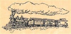 Train pen & ink embroidery design