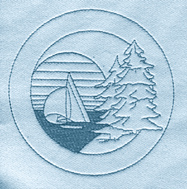 Pine Tree Sailboat embroidery design