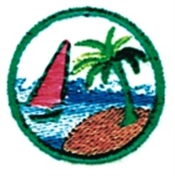 Sailboat & Palm embroidery design