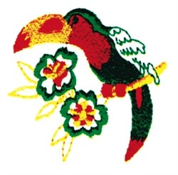 Toucan & Flowers embroidery design