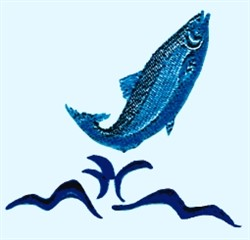 Jumping Salmon embroidery design