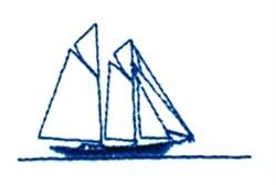 Dual Mast Sailboat embroidery design