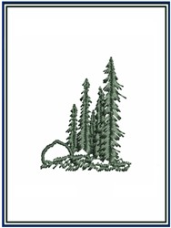 Evergreen Pine Trees embroidery design