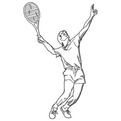 Male Tennis Player embroidery design
