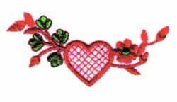 Heart & Flowers embroidery design