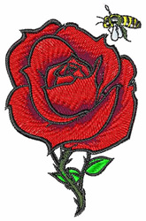Rose with Bee embroidery design