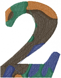 Camo Font Number 2 embroidery design