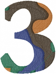 Camo Font Number 3 embroidery design