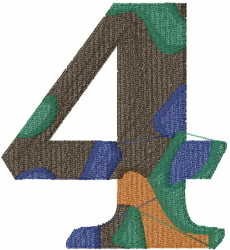 Camo Font Number 4 embroidery design