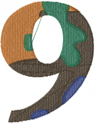 Camo Font Number 9 embroidery design