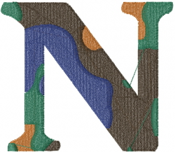 Camo Font N embroidery design