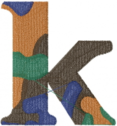 Camo Font k embroidery design