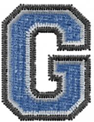 Varsity Regular Font G embroidery design