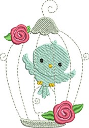 Bird in Cage embroidery design