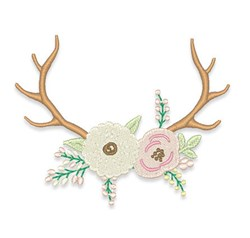 Floral Antlers embroidery design